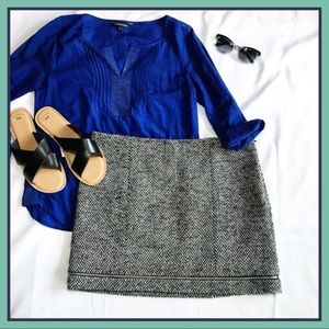 Rebecca Minkoff Skirt Herringbone Tweed Zip Trim